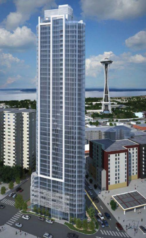 (华尔街600号公寓楼工程效果图,图片来源:拉科尼亚公司) 中国最大的房地产开发商之一万科集团希望在西雅图的地标性建筑物太空针塔附近建造一幢高层公寓楼。 《西雅图时报》报道称,西雅图市长穆雷上周在访华期间宣布了万科的这笔投资。 万科计划与位于加州核桃溪市的拉科尼亚房地产开发公司(Laconia Development)联合在西雅图华尔街600号,即丹尼街旁、99号高速公路隧道起点处的一块三角形土地上建造一幢43层高的出租公寓楼。